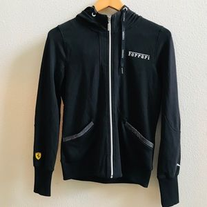 FERARRI X PUMA women's black track jacket hoodie M